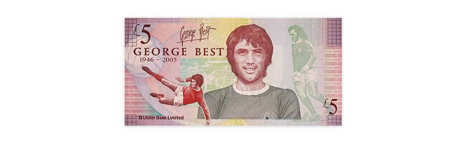 ликот naлегендата на Манчестер Јунајтед Џорџ Бест  се појавува на банкнотите од 5 фунти