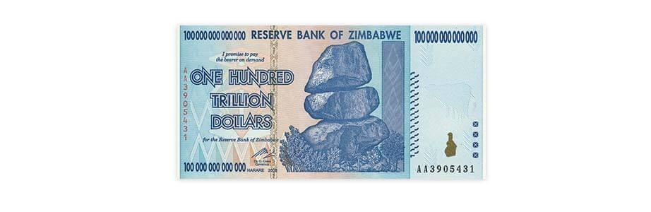 Банкнотата од 100 трилиони долари е воведена во Зимбабве